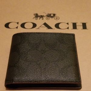 Coach Mens Signature Compact ID Wallet